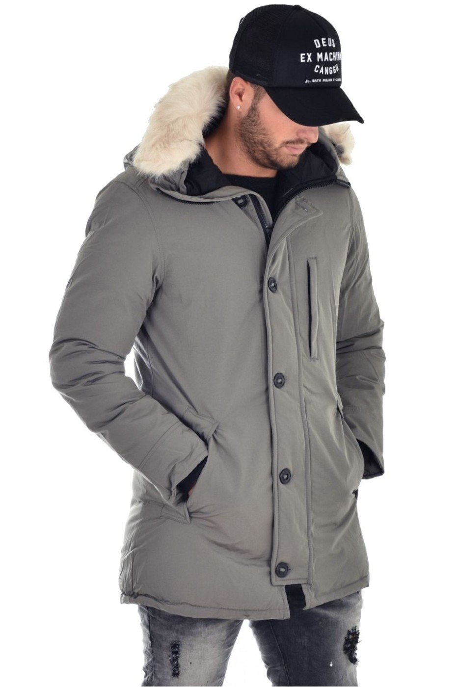 Buttons Parka Jacket Gray